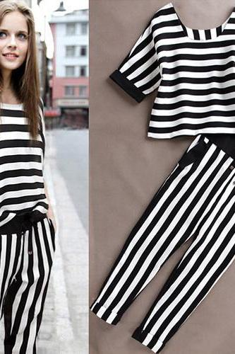 Fashion 3/4 Sleeve Striped Tops + Pants Two-Piece Set