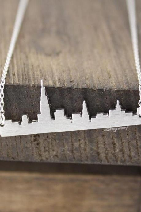 Cityscape Necklace, Skyline Necklace- New York Necklace, NY Necklace in 3 colors, N0380K