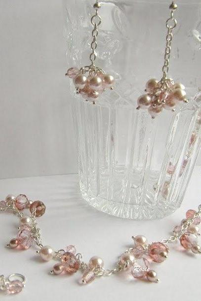 Pink necklace and matching pink earrings. Romantic jewelry
