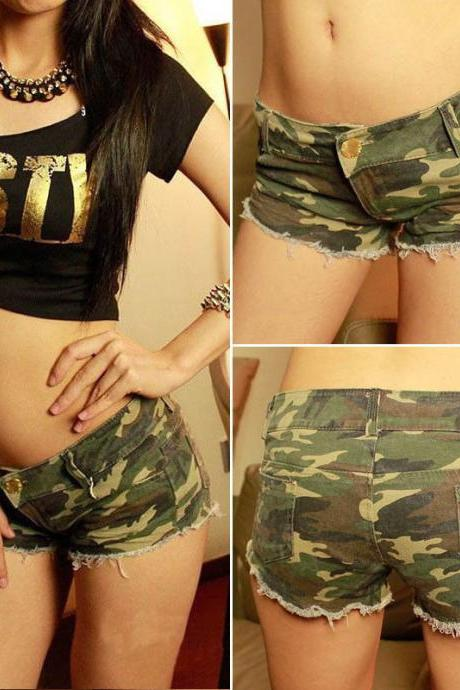 Sexy Women's Denim Camouflage Jeans Shorts Low Waist Summer Casual Mini Pants