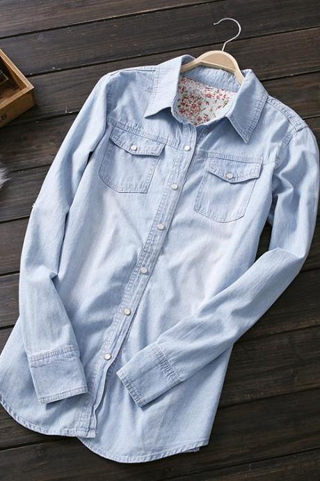 2015 Spring Summer Womens Denim Blouse Fashion Applique Blue Jean Shirts Size XL