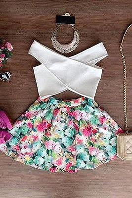 New Women 2 Piece Outfit Dress White Cross Bandage Vest Top+Flower Print A-Skirt