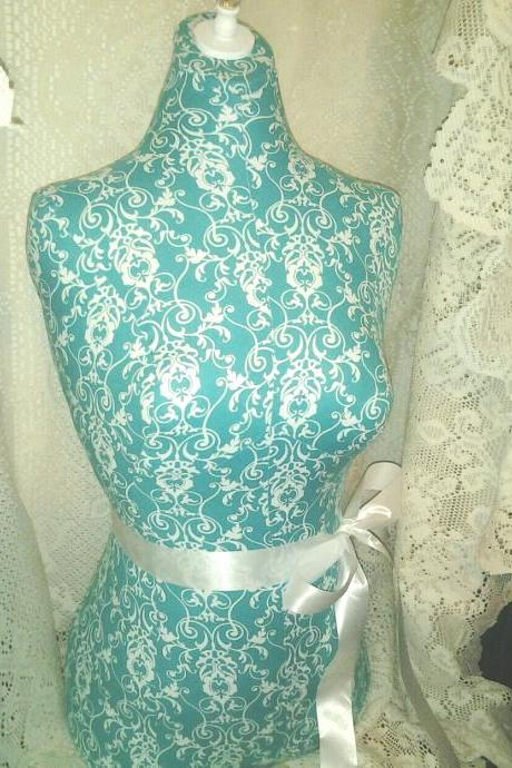 Damask Dress form designs life size torso store front display home decor. Turquoise scroll print unique decorative craft marketing