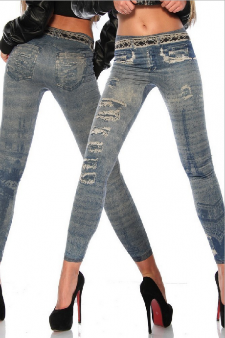 Denim Leggings Seamless Fashion Printing Fake Hole Stretch Pants Tight Leggings