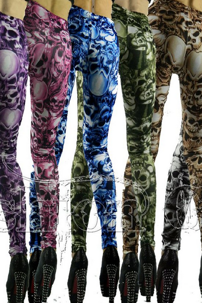 Gothic Punk Rock Personality Death Skull Print Leggings Slim Trousers