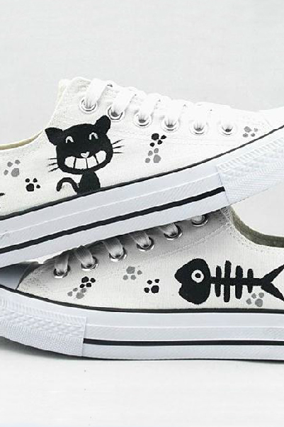 Hand Painted 'Cat and Fish' Canvas Sneakers