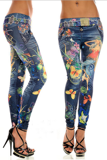 Seamless Denim Painted Graffiti Print Leggings