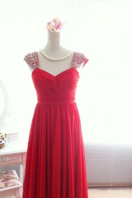 Pretty High Quality Red Straps Long Prom Dressess Lace-up with Beadings, Red Prom Dresses, Evening Dresses, Formal Gown