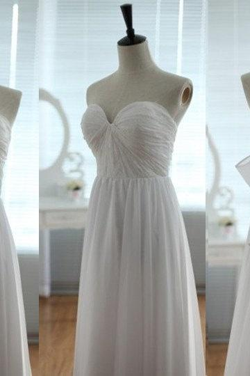 Pretty Handmade White Sweetheart Simple Prom Gown 2015, Bridesmaid Dresses, White Prom Dresses 2015, Party Dresses
