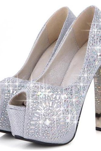Sexy Crystal Embellished Peep Toe High Heels Fashion Sandals