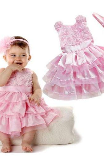 Pink Dress for Infant Girls Cute Ruffled Dress with Matching Headbands Easter Dress for Baby Infant Girls 12 Months Pink Dress