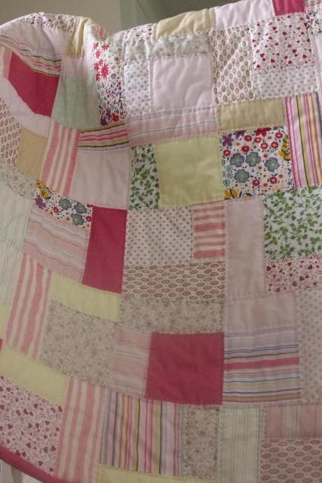 patchwork quilt reversible pink flowers and stripes