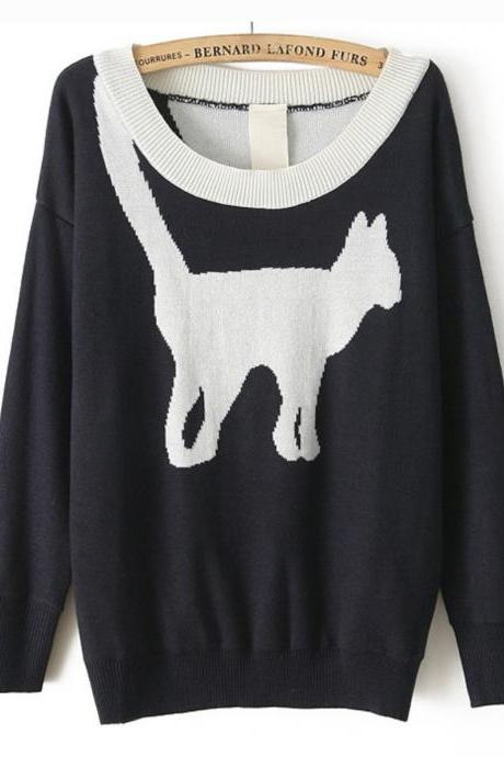 Cat pattern knit sweater