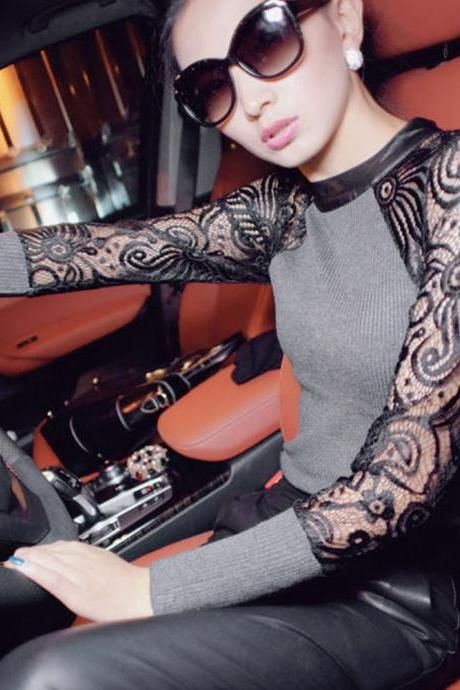 Sexy Women's Lady Autumn Winter Lace Patchwork Knitted Sweater Fashion New
