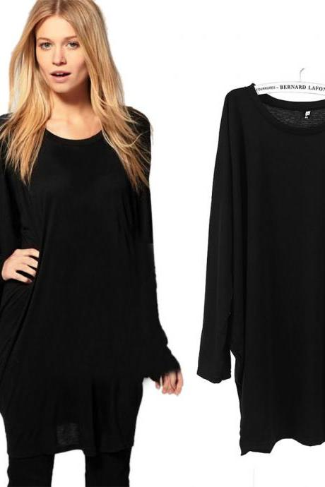 Women's Lady Fashion Batwing Sleeve OverSize Blouse Tops Loose Long T Shirt New