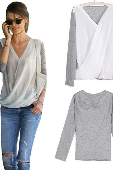Women's High-density Stitching Knitted Chiffon Shirt Long Sleeve V-neck Blouse