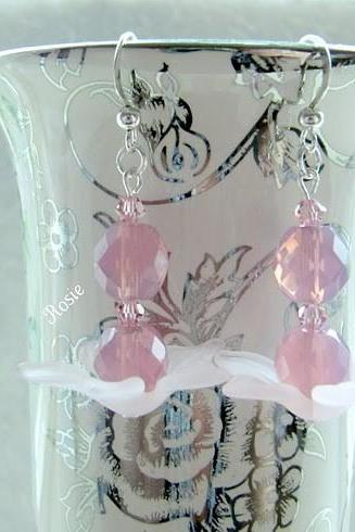Pink earrings with Swarovski beads