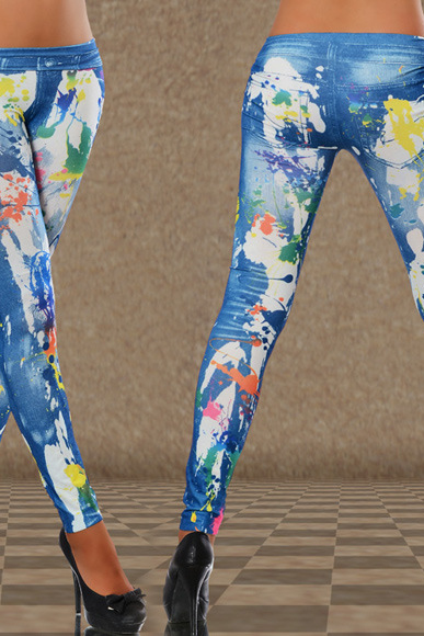 Seamless imitation cowboy The paint color ink Printed leggings