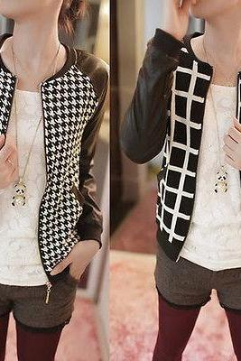 Women Plaid Check Houndstooth Slim Short Basic Jacket Zipped Leather Casual Coat