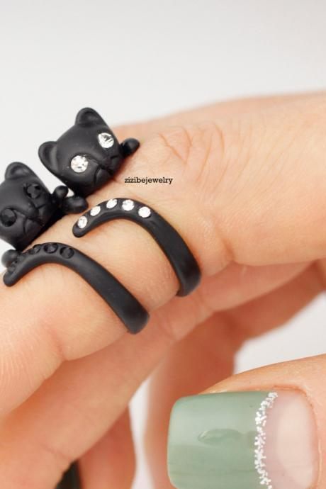 Cute Black Kitty Cat with cubic tail Adjustable Wrap Ring, R0286S