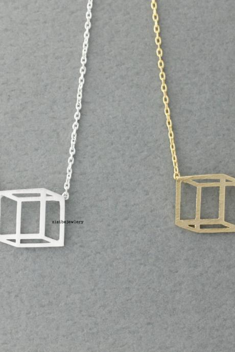 3D Cube Square charm pendant necklace in gold / silver, N0074G
