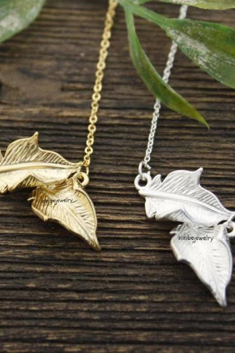 Dainty two Leaf Peadant necklaces in Gold / Silver, N0302S