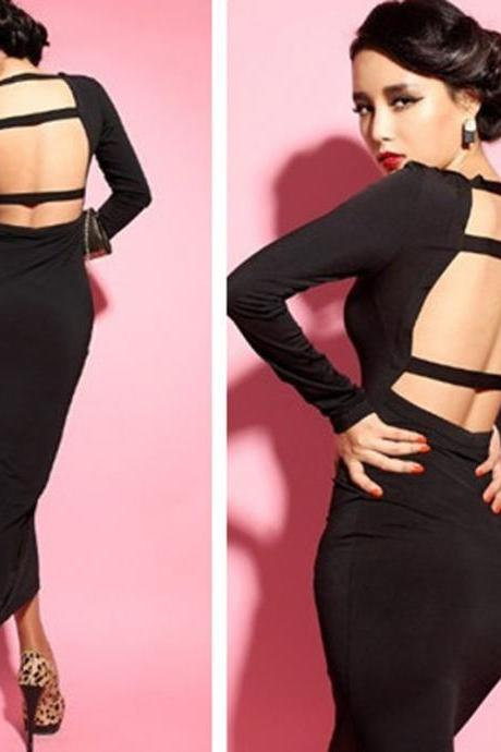 Women V Neck Backless Stretch Bodycon Clubwear Evening Party Cocktail Maxi Dress