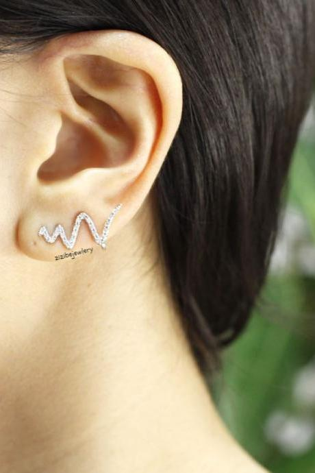 Cubic Wave Zig Zag Bar Earcuff style , Ear pin Stud Earrings in 3 colors, E0397S