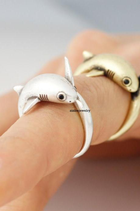 Cute Shark Adjustable Wrap Ring, Fish Ring, R0255S