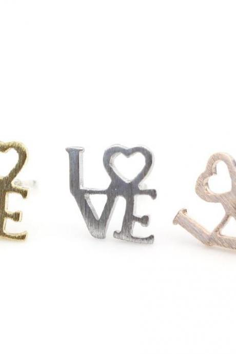 Love earring - Word stud in 3 colors