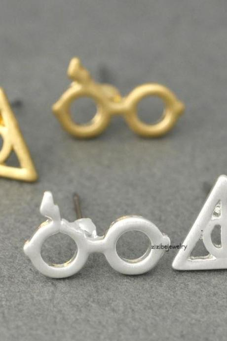 Cute Harry Potter Glasses and Deathly Hollows post earrings in 2 colors, E0375S