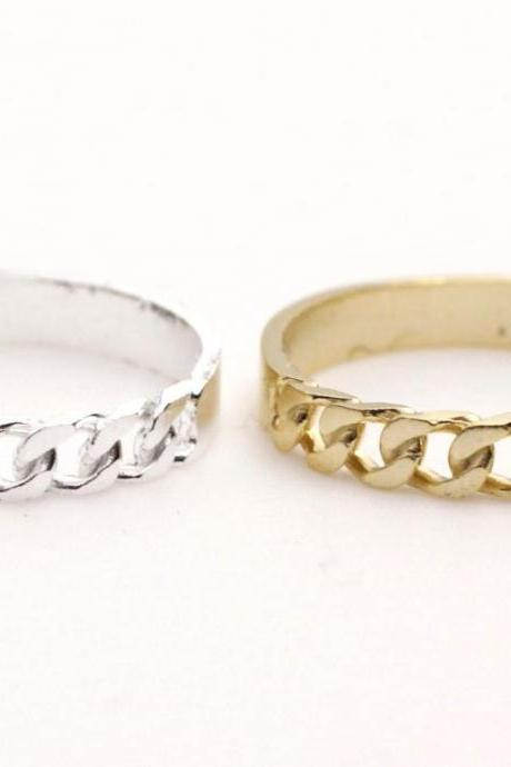 Chunky Chain Band Ring in 2 colors(925 sterling silver / Plated over Brass)