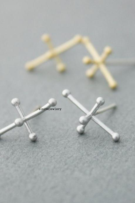 3D Pattern of numerator,Molecular model , Figure, geometric,Matchstick Earrings in Gold / Silver, E0439S