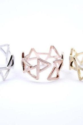Modern Triangle Adjustable Ring in 3 colors