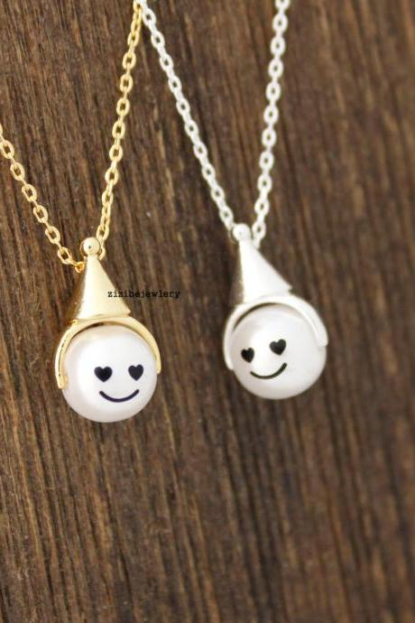 Cute cone hat, party hat with Pearl face Pendant Necklace in 2 colors, N0425G
