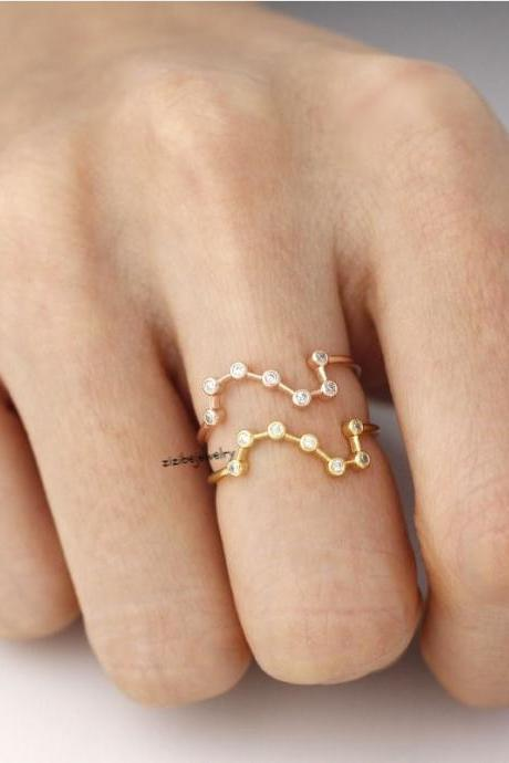 Big Dipper ring detailed with CZ in 3 colors, R0291K