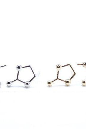 Caffeine Molecule Earrings in Gold / Silver