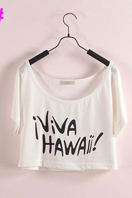 Viva Hawaii Vacation Crop Top Summer Girl Tee