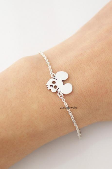 925 sterling silver Cute mickey mouse ears skull Bracelet, B0399S