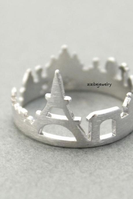 Cityscape Ring, Skyline ring- Paris, adjustable ring in 3 colors- Adjustable Ring(925 sterling silver / plated over Brass), R0318K
