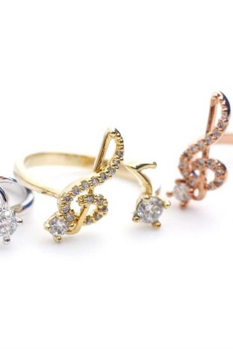 Musical Note and Treble Clef Ring detailed CZ in 3 colors