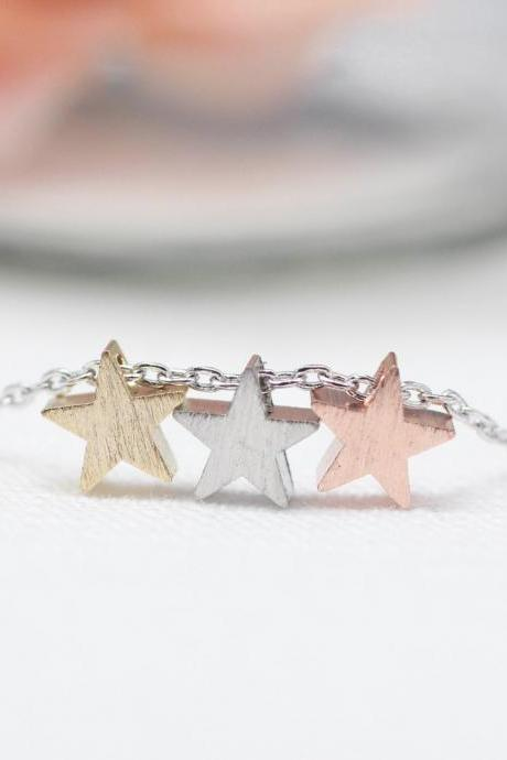 Three Star matt Gold, Silver, Rose modern necklace-Silver chain