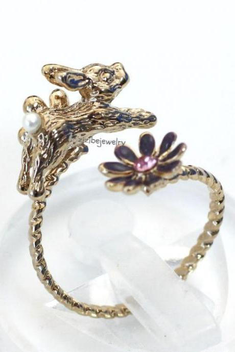 Cute Rabbit and Flower Wrap Ring in 3 colors, R0290S