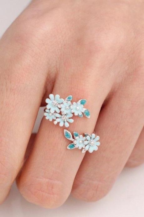 Bunch of Cherry Blossom Flower Adjustable Ring in 4 colors