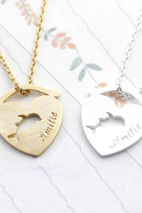 Amitié Dolphin in the Goldfish bowl necklace in 2 colors