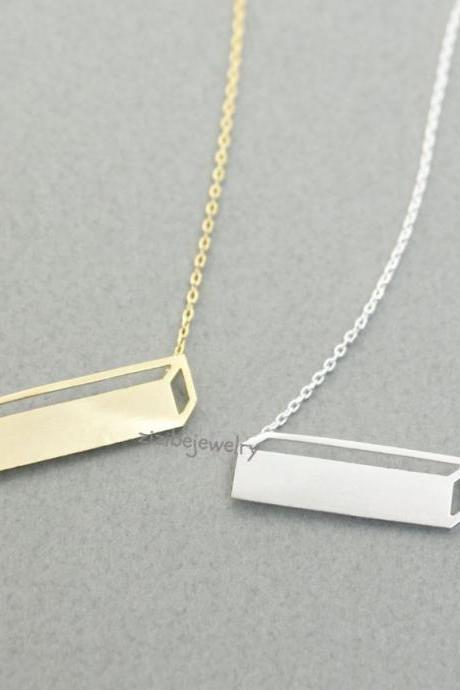 3D Long Bar pendant necklace in gold / silver, N0297G