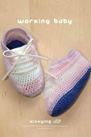 Crochet Pattern for Baby Booties | Working Baby Booties PATTERN by kittying