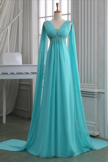 Teal bridesmaid dress,teal prom dress,teal long homecoming dress,long chiffon bridesmaid dresses,deep V neck long chiffon prom dress.
