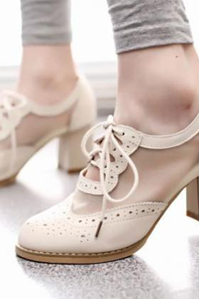 Cutout Mesh Block Heel Lace Up Oxford Shoes