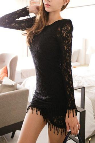 Sexy Tassels Hem Long Sleeve Round Neck Lace Dress [Gzxy0437]